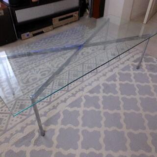 フランフラン(Francfranc)のガラスローテーブル Francfranc 120×50 脚シルバー(ローテーブル)