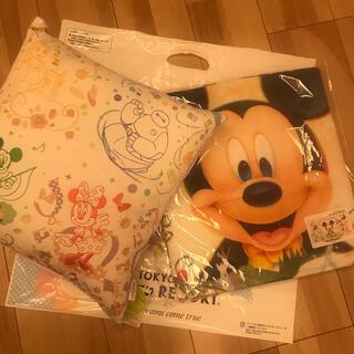 ディズニー(Disney)の【新品】ディズニー新エリア 美女と野獣  クッション ワイドバスタオル セット(キャラクターグッズ)