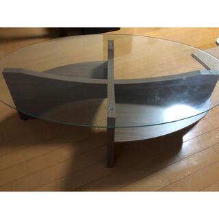フランフラン(Francfranc)の取りに来て頂ける方限定 FrancFranc ガラスローテーブル ウォルナット(ローテーブル)