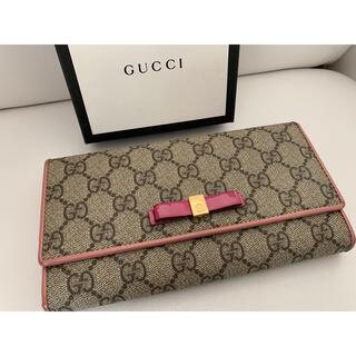 グッチ(Gucci)のGUCCI グッチ☆二つ折り長財布☆GGスプリーム☆ピンク×オレンジ×リボン☆(財布)