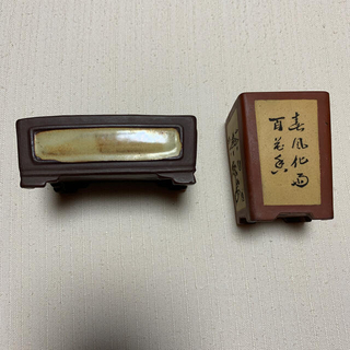 中国 盆栽鉢 陶翠&争奸 2つ(その他)