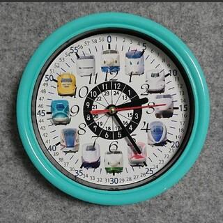 新幹線 24時間表記入り エメラルドグリーン枠 掛け時計(知育玩具)