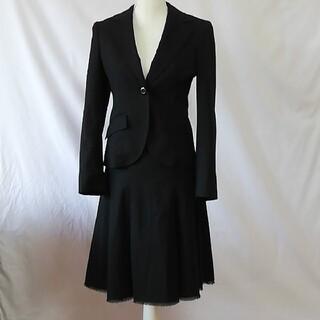 クミキョク(kumikyoku(組曲))の組曲、羊毛ストライプ柄フレアースカートのセットアップスーツ、サイズ2、M(スーツ)