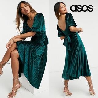 エイソス(asos)のASOS DESIGN パフスリーブ ベロア ラップドレス(ミディアムドレス)