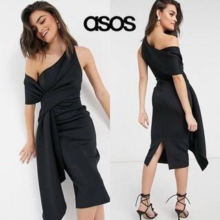 エイソス(asos)のASOS DESIGN ワンショルダー ペンシルドレス(ミディアムドレス)