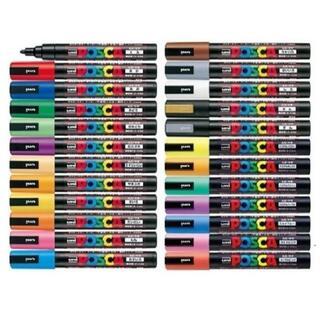 ミツビシエンピツ(三菱鉛筆)のポスカ( 中字丸芯 )PC-5M 全24色セットです(ペン/マーカー)