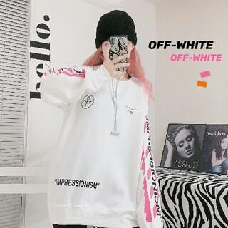 オフホワイト(OFF-WHITE)のピンクのグラフィティアローラウンドネックセーター(パーカー)