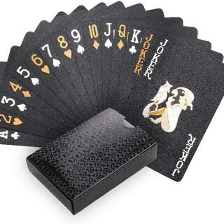 [開封微使用]トランプ プラスチック54枚 ブラック カード(トランプ/UNO)