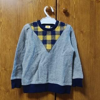 ムージョンジョン(mou jon jon)のmoujonjon ムージョンジョン 95 長袖Tシャツ チェック グレー紺 黄(Tシャツ/カットソー)