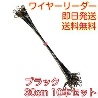 ワイヤーリーダー スイベル スナップ 仕掛け 釣り 10本 ブラック 30cm(釣り糸/ライン)