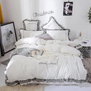 ザラホーム(ZARA HOME)のFrancfranc系💕フリル付き刺繍ベッドカバー4点セット(シーツ/カバー)