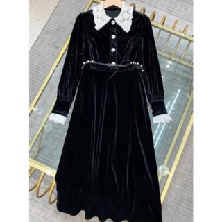 ミュウミュウ(miumiu)のMIUMIUレースパール柄襟ワンピースドレス(ひざ丈ワンピース)