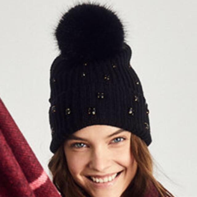 Victoria's Secret(ヴィクトリアズシークレット)のニット帽 ビーニー ブラックラメ レディースの帽子(ニット帽/ビーニー)の商品写真