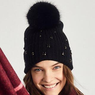 ヴィクトリアズシークレット(Victoria's Secret)のニット帽 ビーニー ブラック(ニット帽/ビーニー)