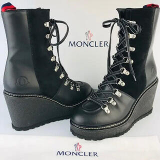 モンクレール(MONCLER)の新品未使用★MONCLER・レディース レザー ウェッジソール ブーツ(37)(ブーツ)