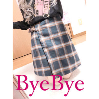 バイバイ(ByeBye)の2675.ByeBye 巻きスカート風 チェック柄 ハイウエスト 台形スカート(ミニスカート)