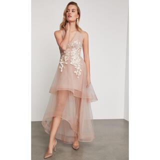 ビーシービージーマックスアズリア(BCBGMAXAZRIA)の❤️ BCBGMAXAZRIA20新作 新品花柄ピンクドレス綺麗パーティードレス(ロングドレス)