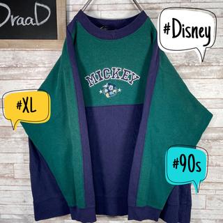 ディズニー(Disney)の【古着】90s ディズニー ミッキー 刺繍ロゴ スウェット トレーナー XL(スウェット)