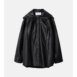 IRENE Faux Leather Hoodie Shirt