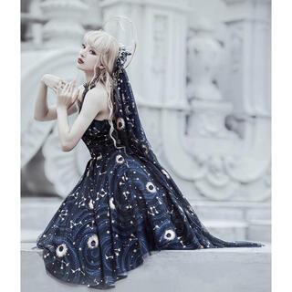 Angelic Pretty - ゴシックロリータ 星月夜 紺ロングマント/ヘッドドレス
