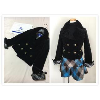 バーバリーブルーレーベル(BURBERRY BLUE LABEL)の美品 バーバリー ブルーレーベル 中わた コート ブラック キルティング(ピーコート)