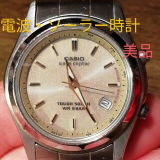 カシオ(CASIO)のラ183. 美品 電波・ソーラー時計  カシオ・ウェーブセプター デイト(腕時計)