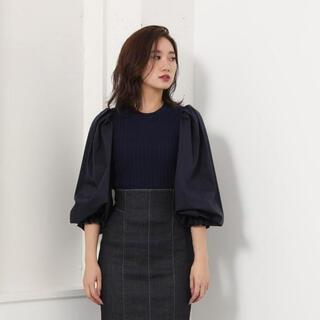 リエンダ(rienda)のrienda shirt slv combi knit top(ニット/セーター)