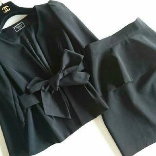 グレースコンチネンタル(GRACE CONTINENTAL)のダイアグラム スーツ 黒 ペプラム 卒園式 卒業式 入学式 七五三(スーツ)