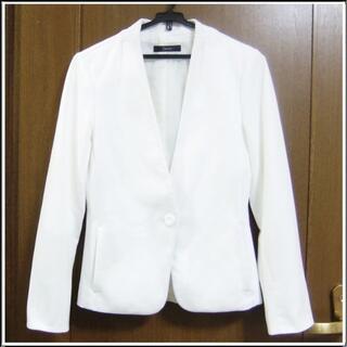 グリーンレーベルリラクシング(green label relaxing)のGR 白 ホワイト ウォッシャブル 洗濯できる ポケット ジャケット 1103(ノーカラージャケット)