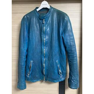 イサムカタヤマバックラッシュ(ISAMUKATAYAMA BACKLASH)の※訳あり backlash ジャパンカーフ  size3 ブルー シングル(ライダースジャケット)