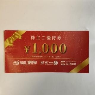 ヴィレッジヴァンガード株主優待券 1000円分 20枚(ショッピング)