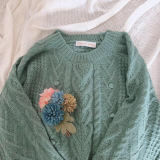 サンタモニカ(Santa Monica)の古着 水色 ぽんぽん やわらか ニットセーター(ニット/セーター)