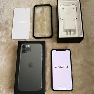アップル(Apple)の【美品】Simフリー iPhone11 pro ミッドナイトグリーン 64GB(スマートフォン本体)