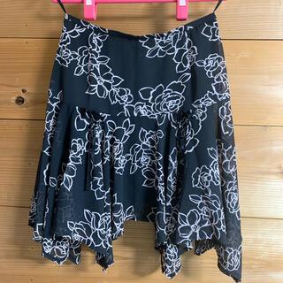 【☆433】花柄スカート 黒(ミニスカート)