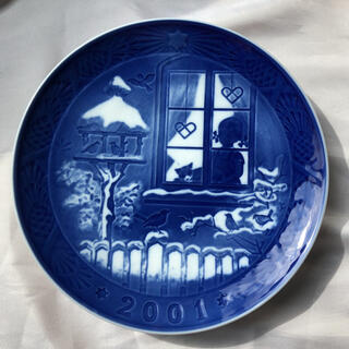 ロイヤルコペンハーゲン(ROYAL COPENHAGEN)の●ロイヤルコペンハーゲン/皿 イヤープレート 飾り皿 2001年野鳥と一緒に③(置物)