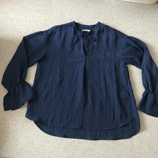 プードゥドゥ(POU DOU DOU)のPOU DOU DOU 襟なし紺色ブラウス(シャツ/ブラウス(長袖/七分))