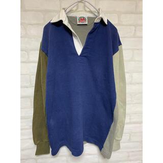 バーバリアン(Barbarian)のバーバリアン クレイジーパターン ラガーシャツ ポロシャツ 長袖 Mサイズ(ポロシャツ)