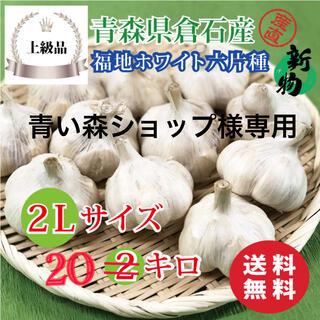 【上級品】青森県倉石産にんにく福地ホワイト六片種 2Lサイズ 20kg(野菜)