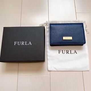 フルラ(Furla)の【美品】FURLA カードケース ネイビー(名刺入れ/定期入れ)