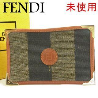 フェンディ(FENDI)のフェンディ 未使用 ヴィンテージ ペカン PVC×レザー IC カード ケース(名刺入れ/定期入れ)