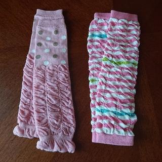 ニシマツヤ(西松屋)のピンク レッグウォーマー 膝当て 2枚セット(レッグウォーマー)
