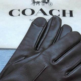 コーチ(COACH)の【新品】COACH手袋 F54182 ラムレザー ブラウン タグ付き M(手袋)