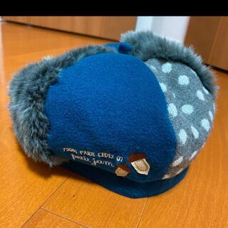 プチジャム(Petit jam)の【美品】petit jam ベレー帽 52cm  ブルー×グレー×水玉(帽子)