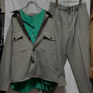 ジーユー(GU)の古着 GU ジーユー グレー チェック セットアップ シャツ パンツ スラックス(セットアップ)