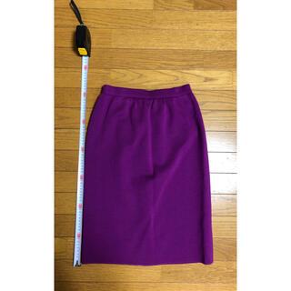サンローラン(Saint Laurent)のYves Saint Laurent タイトスカート 紫(ひざ丈スカート)