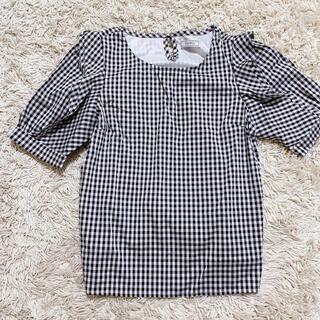 ティティアンドコー(titty&co)のtitty&Co.モノクロギンガムチェック(シャツ/ブラウス(半袖/袖なし))