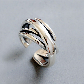 【新品】ヴィンテージ調 メンズ リング シルバー 指輪 フリーサイズ(リング(指輪))