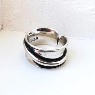 【新品】ヴィンテージ調 幅広 メンズ リング シルバー 指輪 フリーサイズ 韓国(リング(指輪))