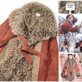 エルメス(Hermes)のHERMES 《レザーファー》豪華!極暖ムートン コート E2538(毛皮/ファーコート)