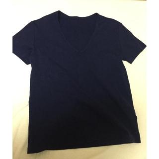プーラフリーム(pour la frime)の紺のVネックTシャツ(Tシャツ(半袖/袖なし))
